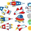 Stock Vector: Cute Outer Space Rocket Set