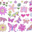 Spring Fairytale Flowers and Butterflies set — Stock Vector