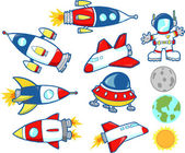 Cute Outer Space Rocket Set — Stock Vector