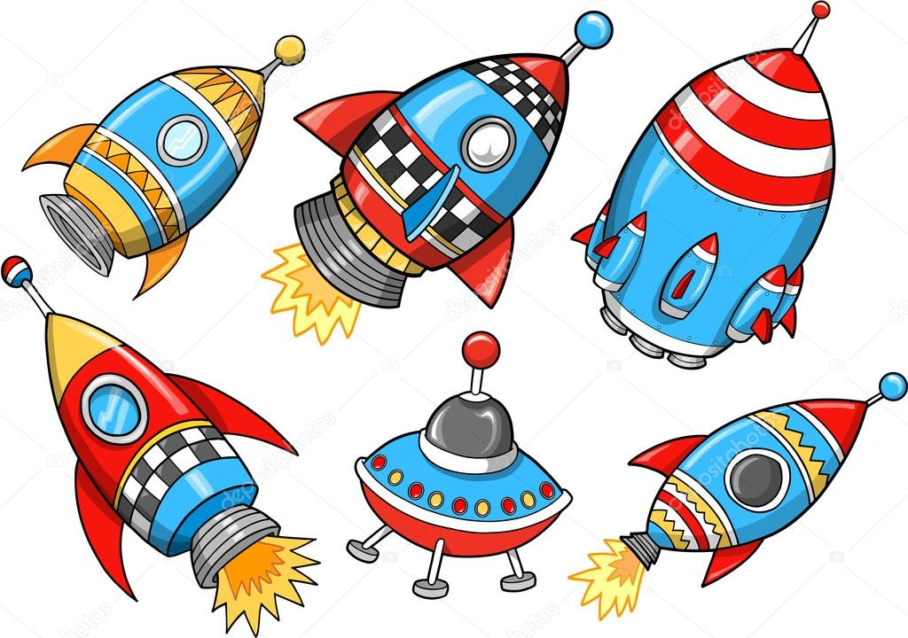 Cute Super Rocket Vector Illustration Set — Stock Vector #12145155