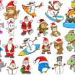 Cute Holiday Christmas Winter Vector Set — Stock Vector #12394105