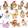 Christmas Holiday Dog and Cat Pet Vector Set — Stock Vector