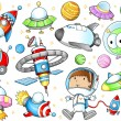 Stok Vektör: Outer Space Spaceships and Astronaut Vector Set