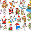 Cute Holiday Christmas Winter Vector Set — Stock Vector