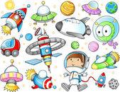 Kosmické lodě ve vesmíru a astronaut vektorové sada — Stock vektor