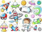 Outer space ruimteschepen en astronaut vector set — Stockvector