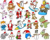 Cute Holiday Christmas Winter Vector Set — Stock Vector