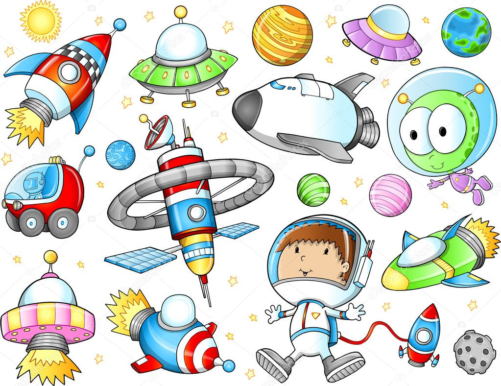 Cute Outer Space Spaceships and Astronaut Vector Set — Stock Vector #12394104