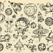 Outer Space Doodle Sketch Vector Illustration Set — Stock Vector