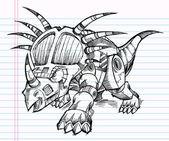 Croquis doodle robot machine triceratops dinosaure illustration — Vecteur