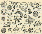 Outer space doodle schets vector illustratie set — Stockvector