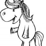 Cute Unicorn Sketch Doodle Vector — Stock Vector