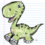 Dinosaur Doodle Color Sketch Vector — Stock Vector #13264441
