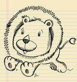 Эскиз каракули Лев — Cтоковый вектор