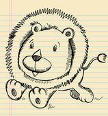 Lion Doodle Sketch — Stock Vector