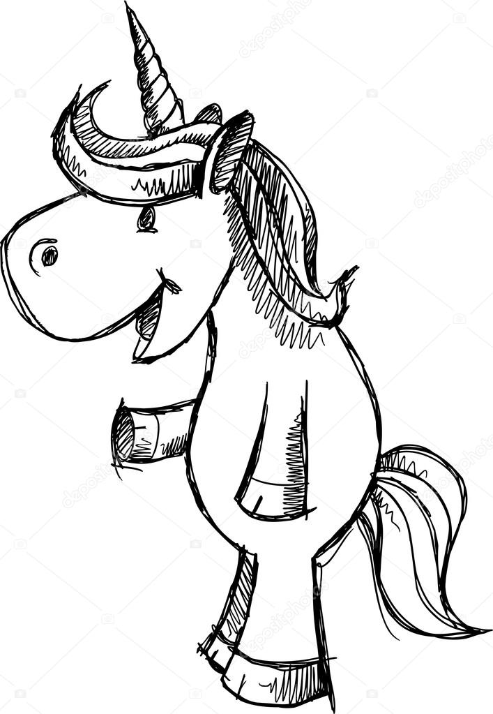 Cute Unicorn Sketch Doodle Vector — Stock Vector #13264430