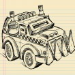 Apocalyptic Vehicle Truck Sketch Vector Illustration Art - Stock Vector