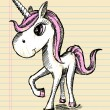 Cute Unicorn Horse Color Sketch Vector Art - Stock Vector