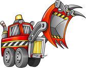 Vetor de veículo escavador apocalíptico carregador frontal — Vetorial Stock