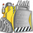 Stock Vector: Apocalyptic Bulldozer Vector Illustration