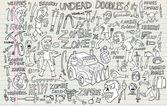 Zombie Undead Doodle Vector Illustration Set — Stock Vector