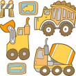 Cute Construction Vehicle Vector Set — Stock Vector #14138560