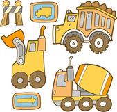 Cute Construction Vehicle Vector Set — Stock Vector