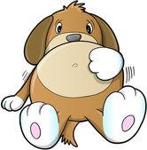 Schattige zieke puppy hond vector — Stockvector