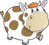 Heureux mignon vecteur de vache ferme marche — Vecteur