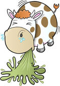 Barfing Vomiting Cow Vector — Stock Vector