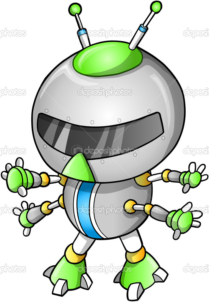 Cute Robot illustration — Stock Vector #14364061