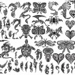 Iconic Dragons Butterfly Eagle Tattoo Tribal Vector Set — Vector de stock