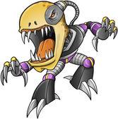 Evil Zombie Undead Cyborg Vector Art — Stock Vector