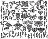 Iconic Dragons Butterfly Eagle Tattoo Tribal Vector Set — Stok Vektör