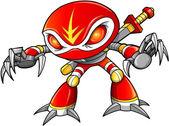 Warrior Ninja Soldier Robot Cyborg Vector — Stock Vector