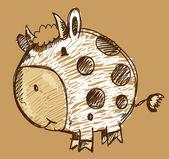 цвет мела маркер эскиз каракули корова животное вектор — Cтоковый вектор
