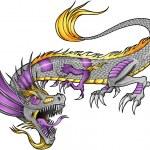 Robot Cyborg Dragon Vector Illustration art — Stock Vector