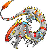 Robot Cyborg Dragon Vector Illustration art — Stock Vector