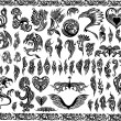 Iconic Dragons border frames Tattoo Tribal Vector Set — ストックベクタ