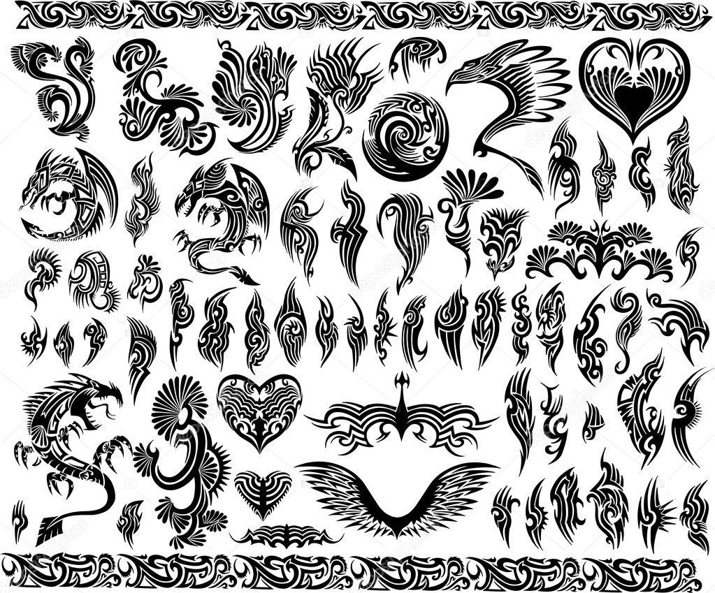 Iconic Dragons Border Frames Tattoo Tribal Vector Set
