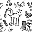 Doodle Sketch Puppy Dog Vector pet set — Stock Vector