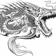 Dragon Doodle Sketch Tattoo Vector — Stock Vector