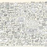 Notebook Doodle Design Elements Mega Vector Illustration Set — Stock Vector