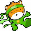 Cute Tiger Cub Ninja Vector — Stock Vector #18124565