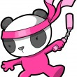 Cute Pink Panda Bear Ninja Vector — Stock Vector