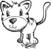 Sketch Doodle Scribble Kitten Cat Vector — Stock Vector