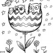 Sketch Doodle Spring Owl Flowers Vector Art — Stock Vector