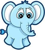 Martwi się niebieski słoń wektor — Wektor stockowy