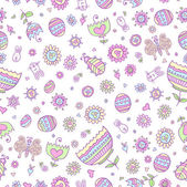 Cute Springtime Easter Doodle Seamless Pattern Vector — Stock Vector
