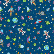 Outer Space Doodle Seamless Pattern - Stock Vector